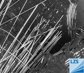 Analyse des Werkstoffverhaltens » REM-Aufnahme der Bruchfläche eines PP-Glasfaserverbundes